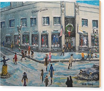 Wood Print featuring the painting Shopping At Grover Cronin by Rita Brown