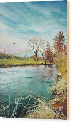 Wood Print featuring the painting Shore Of The River by Sorin Apostolescu