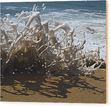 Shorebreak - The Wedge Wood Print by Joe Schofield
