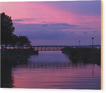 Shoreline Park At Dusk Wood Print