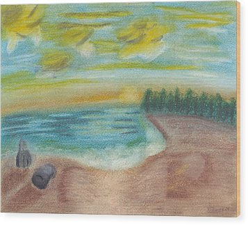 Shoreline Wood Print by Susan Schmitz