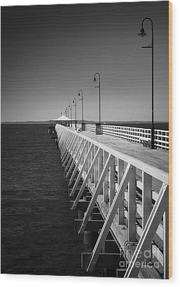 Shorncliffe Pier In Monochrome Wood Print by Peta Thames