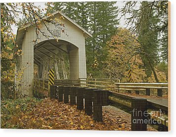 Short Covered Bridge Wood Print by Nick  Boren