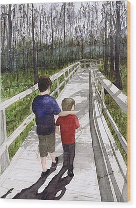 Wood Print featuring the painting Short Walk Long Pier by June Holwell