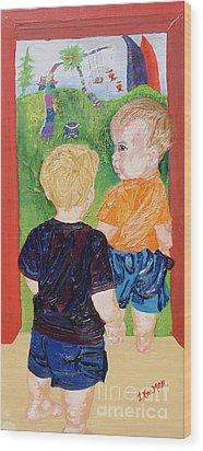 Should We Go In Wood Print by Lisa Kramer