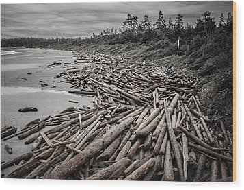Shoved Ashore Driftwood  Wood Print by Roxy Hurtubise