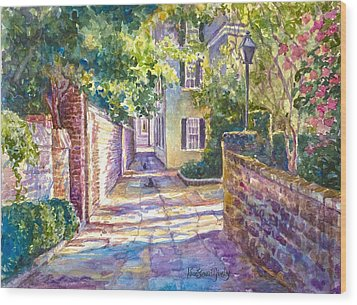Showdown In Price's Alley Wood Print by Alice Grimsley
