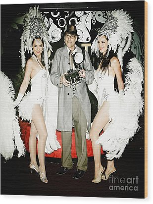 Showgirls And Photographer With Polaroid Wood Print by Nina Prommer