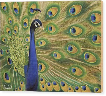 Showoff - Peacock Painting Wood Print by Prashant Shah