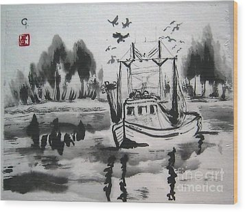 Shrimp Boat Biloxi Wood Print by Jeanel Walker