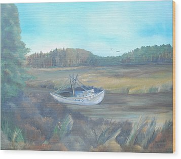 Shrimp Boat Wood Print