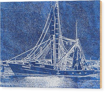 Shrimp Boat - Dock - Coastal Dreaming Wood Print by Barry Jones
