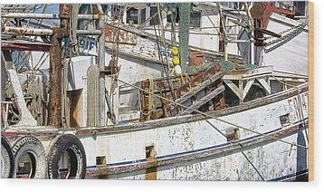 Shrimp Boat Wood Print by Wendell Thompson