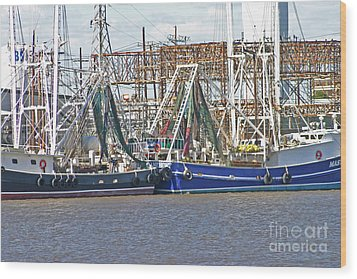 Shrimp Boats 1 Port Arthur Texas Wood Print by D Wallace