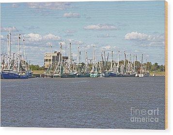 Shrimp Boats 2 Port Arthur Texas Wood Print by D Wallace