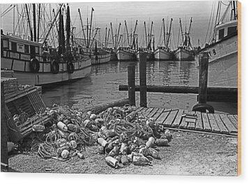 Shrimp Boats In Key West Wood Print by Thomas D McManus