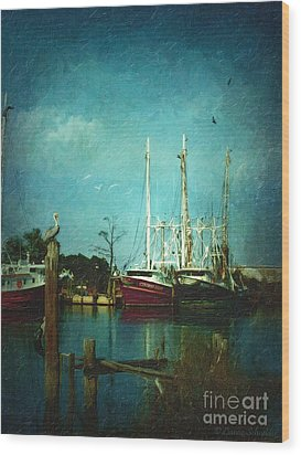Shrimp Boats Is A Comin Wood Print by Lianne Schneider