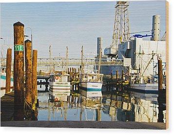 Shrimp Boats Wood Print by John Collins