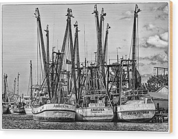 Shrimp Boats Wood Print by Robert  FERD Frank