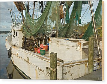 Shrimper Wood Print by Denis Lemay