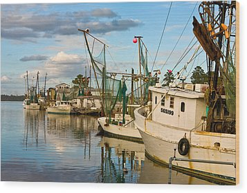 Shrimpers Cove Wood Print by Denis Lemay