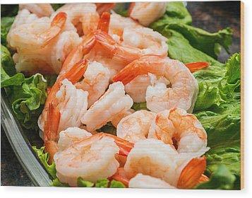 Shrimps On A Plate Wood Print by Marek Poplawski
