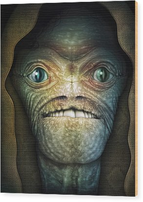 Shrouded Alien Wood Print by James Larkin