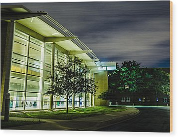 Shs Lower Cafeteria At Night Wood Print