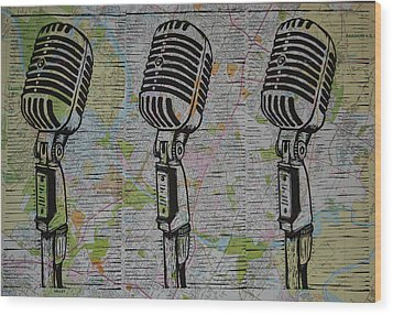 Shure 55s On Map Wood Print