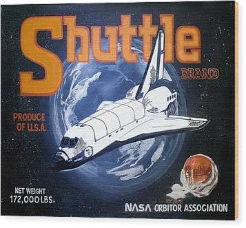 Shuttle Brand Wood Print by Ric Rice