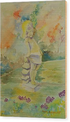 Shy Garden Angel Wood Print by Geeta Biswas