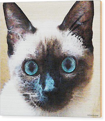 Siamese Cat Art - Black And Tan Wood Print by Sharon Cummings