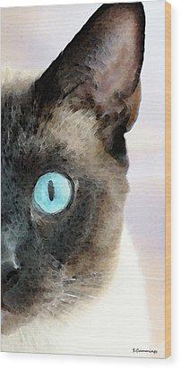 Siamese Cat Art - Half The Story Wood Print by Sharon Cummings