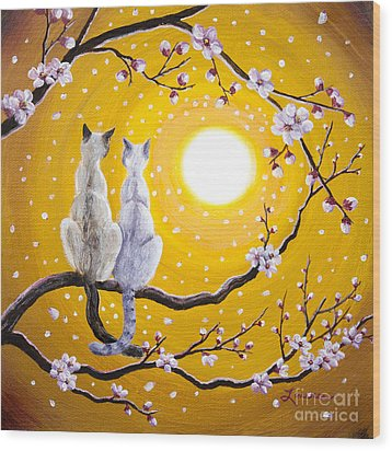 Siamese Cats Nestled In Golden Sakura Wood Print by Laura Iverson