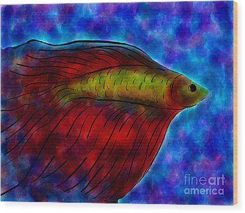 Siamese Fighting Fish II Wood Print by Anita Lewis