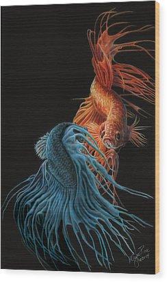 Siamese Fighting Fish Two Wood Print