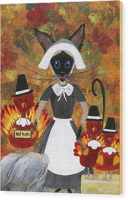 Siamese Queen Of Thanksgiving Wood Print by Jamie Frier