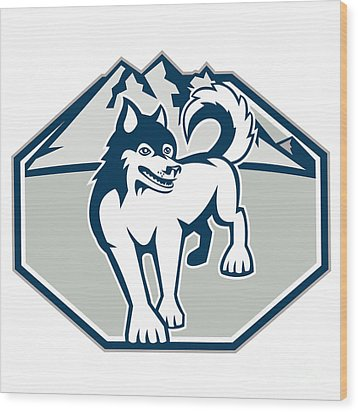Siberian Husky Dog Mountain Retro Wood Print by Aloysius Patrimonio