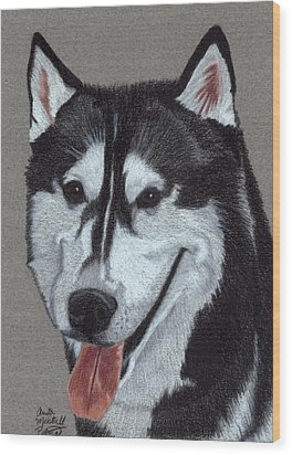 Siberian Husky Vignette Wood Print by Anita Putman