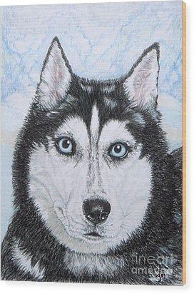 Siberian Husky Wood Print by Yvonne Johnstone