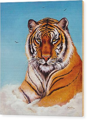 Wood Print featuring the painting Siberian King Tiger by Bob and Nadine Johnston