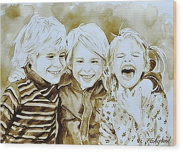 Siblings Fun Wood Print