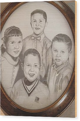 Wood Print featuring the drawing Siblings by Sharon Schultz