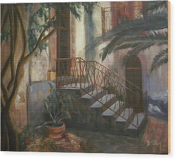 Wood Print featuring the painting Sicilian Nunnery by Donna Tuten