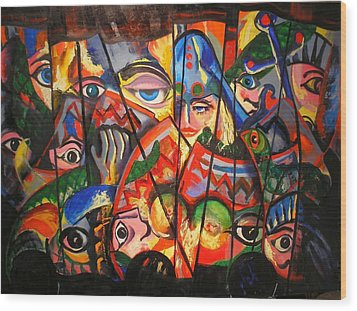 Wood Print featuring the painting Sicilian Puppets IIi by Georg Douglas
