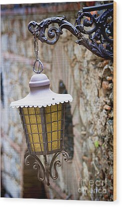 Sicilian Village Lamp Wood Print by David Smith