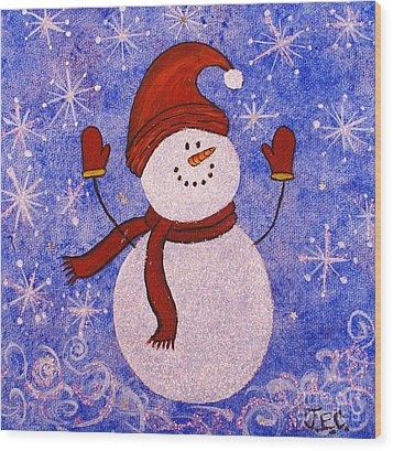 Wood Print featuring the painting Sid The Snowman by Jane Chesnut