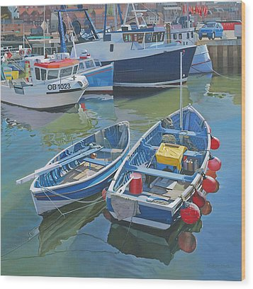 Side By Side In Whitby Harbour Wood Print by Graham Clark