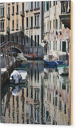 Side Canal Venice Wood Print