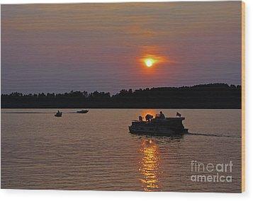 Side Lake Mn Sunset  Wood Print